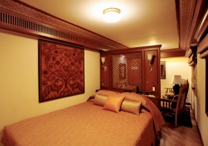 The bedroom of this suite showcases the luxury of all the accommodations on the Maharajas' Express.