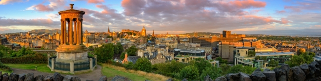 Panoramic view of Edinburgh castle from Calton Hill, Edinburgh, Scotland.