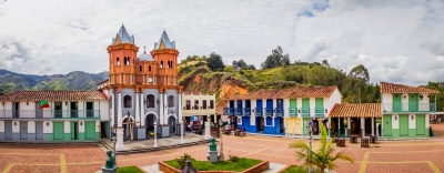 Beautiful Penol old town replica of the main street in old Guatape before it was inundated, Colombia. Panorama