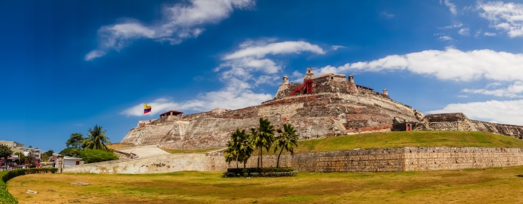 Castillo San Felipe Barajas, impressive fortress located in Lazaro hill, Cartagena de Indias, Colombia