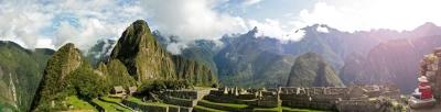 Panoramic view of lost Inca city of Machu Picchu, Peru.