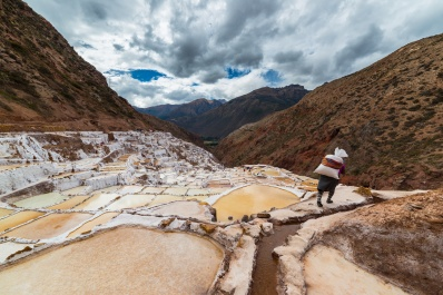 Worker in salt basins on the Peruvian Andes